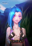1girl animated blue_hair braid breasts commentary ebluberry fingerless_gloves flashing gloves jinx_(league_of_legends) league_of_legends long_hair lowres pink_eyes small_breasts solo tattoo twin_braids ugoira very_long_hair