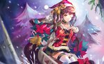 1girl :q absurdres ahoge alternate_costume bangs bell black_skirt blurry blurry_background blush breasts brown_hair choker christmas_ornaments christmas_tree eyebrows_visible_through_hair girls_frontline hand_on_own_chest haribo_kanten hat highres long_hair looking_at_viewer m14_(girls_frontline) medium_breasts one_eye_closed ribbon santa_costume santa_hat sidelocks sitting skirt smile snow snowing solo thighhighs tongue tongue_out twintails white_legwear yellow_eyes