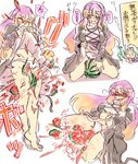 2girls bare_legs barefoot between_thighs blonde_hair commentary_request cross-laced_clothes crushed crushing dokutaa_hakase flush food fruit gradient_hair heavy_breathing hijiri_byakuren juice kumoi_ichirin lifted_by_self multicolored_hair multiple_girls panties puffy_sleeves purple_hair skirt skirt_lift touhou translation_request underwear watermelon white_panties