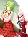 2girls aka_tawashi ascot ass blonde_hair blush bow breasts commentary_request dress elly eyebrows_visible_through_hair feet_out_of_frame from_behind green_hair green_umbrella hair_between_eyes hat hat_bow highres holding holding_scythe holding_umbrella holding_weapon juliet_sleeves kazami_yuuka large_breasts long_sleeves looking_at_viewer multiple_girls over_shoulder petticoat plaid plaid_skirt plaid_vest puffy_sleeves red_bow red_dress red_eyes red_ribbon red_skirt red_vest ribbon scythe shirt short_hair short_sleeves skirt standing touhou touhou_(pc-98) umbrella vest weapon weapon_over_shoulder white_headwear white_shirt wing_collar yellow_neckwear