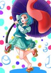 1girl abstract_background arm_behind_head blue_eyes blue_hair blue_skirt blue_vest contrapposto folded_leg forehead geta hara_(user_tvna7732) heterochromia highres holding holding_umbrella juliet_sleeves karakasa_obake long_sleeves looking_away open_mouth petticoat puffy_sleeves red_eyes shirt short_hair skirt solo standing standing_on_one_leg tatara_kogasa toenails touhou umbrella vest water_drop white_shirt