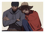 2boys 79357_(lyhlyhlyh) beanie brown_hair cowboy_hat crossed_arms hat hood hoodie male_focus mccree_(overwatch) multiple_boys overwatch poncho reaper_(overwatch) shoulder_rest sleeping