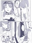 2girls bangs choker comic directional_arrow fate/grand_order fate_(series) forest hair_ornament hairband highres lolita_hairband long_hair monochrome multiple_girls nature open_mouth saint_martha stabbed stheno sweat thought_bubble translation_request twintails yonatori