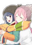 2girls :d ^_^ beanie blue_hair blush closed_eyes closed_mouth eyebrows_visible_through_hair from_side hat head_tilt highres hug hug_from_behind kagamihara_nadeshiko kanchan_(kanchan220) long_sleeves looking_at_viewer multicolored_coat multiple_girls open_mouth outline pink_hair purple_eyes scarf shared_scarf shima_rin smile striped striped_scarf white_background white_coat yurucamp