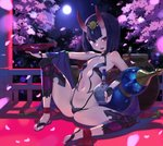 1girl :d ankle_ribbon arm_up ass black_gloves breasts bridal_gauntlets cherry_blossoms circlet commentary cup eyebrows_visible_through_hair eyeliner fangs fate/grand_order fate_(series) fingerless_gloves full_moon gloves gourd groin highres horns japanese_clothes kylin looking_at_viewer makeup moon navel night oni_horns open_mouth outdoors petals purple_eyes purple_hair revealing_clothes ribbon sakazuki short_hair shuten_douji_(fate/grand_order) small_breasts smile solo spread_legs thighhighs toeless_legwear