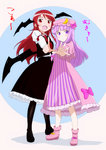 2girls :< :d armband bangs bat_wings black_legwear blue_background blunt_bangs bow capelet commentary_request crescent crescent_moon_pin dress eyebrows_visible_through_hair fang frilled_skirt frills full_body hair_between_eyes hair_ribbon hat hat_bow head_wings height_difference highres index_finger_raised juliet_sleeves koa_(phrase) koakuma long_hair long_sleeves looking_at_viewer low_wings mob_cap mukyuu multiple_girls necktie open_mouth ore_no_imouto_ga_konna_ni_kawaii_wake_ga_nai outstretched_arm pantyhose parody patchouli_knowledge puffy_sleeves purple_dress purple_eyes purple_hair red_eyes red_hair red_neckwear rei_(zero_ofdarkness) ribbon shoes sidelocks simple_background skirt skirt_set smile standing striped striped_dress style_parody touhou translated tress_ribbon unmoving_pattern vest white_background wide_sleeves wings