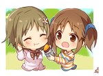 2girls :d :t ^_^ bare_shoulders blue_scrunchie blush brown_eyes brown_hair chibi closed_eyes closed_mouth cropped_torso eating feeding flower food hair_flower hair_ornament hair_scrunchie heart heart_necklace holding holding_food idolmaster idolmaster_cinderella_girls long_sleeves mimura_kanako multiple_girls off_shoulder omuretsu open_mouth scrunchie shirt signature smile striped striped_shirt sweet_potato totoki_airi twintails upper_body white_flower white_shirt yakiimo