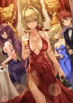 1boy 3girls :o :t ahoge alcohol aqua_eyes arm_at_side artoria_pendragon_(all) back backless_dress backless_outfit bag bare_arms bare_shoulders black_bow black_jacket black_neckwear blonde_hair blue_dress blue_ribbon blurry blurry_background blush bow bowtie breasts brown_eyes cake champagne champagne_flute cleavage closed_mouth collarbone cup depth_of_field dress drinking_glass dutch_angle emiya_shirou evening_gown eyebrows_visible_through_hair fate_(series) feet_out_of_frame fine_art_parody food formal green_eyes hair_between_eyes hair_intakes hair_ribbon handbag highres holding holding_arm holding_bag holding_cup honey_yun indoors jacket jealous large_breasts lens_flare looking_at_viewer looking_to_the_side medium_breasts mona_lisa multiple_girls nero_claudius_(fate) nero_claudius_(fate)_(all) open_mouth painting_(object) parody parted_lips pelvic_curtain pink_lips pout purple_dress purple_hair red_dress red_eyes red_hair red_ribbon ribbon saber scathach_(fate)_(all) scathach_(fate/grand_order) short_hair sideboob sidelocks simple_background sleeveless sleeveless_dress sparkle standing statue strapless strapless_dress suit sweat table thighs v-shaped_eyebrows