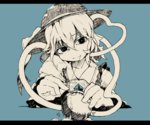 1girl absurdres ascot blouse bust closed_eyes flanvia green_background hair_between_eyes hat hat_ribbon head_tilt highres komeiji_koishi letterboxed light_smile long_sleeves needle ribbon ringed_eyes shirt short_hair simple_background smile solo stitched stitches stitching string third_eye touhou