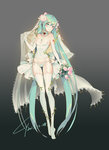 1girl 2017 absurdly_long_hair blue_hair blush bouquet breasts choker cleavage collarbone covered_navel dated elbow_gloves flower full_body garter_straps gloves gradient gradient_background green_eyes grey_background hair_flower hair_ornament hatsune_miku head_tilt highres holding holding_bouquet jewelry lian_yao long_hair necklace panties pink_flower shiny shiny_skin side-tie_panties signature small_breasts smile solo standing strapless thighhighs twintails underwear very_long_hair vocaloid white_legwear white_panties