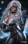 1girl ass_visible_through_thighs black_cat_(marvel) blue_eyes bodysuit breasts choker city claws cleavage collarbone contrapposto corset head_tilt highres lips lipstick logan_cure makeup marvel mask night parted_lips red_lipstick skin_tight solo spandex spider-man_(series) teeth unzipping wavy_hair white_hair wind