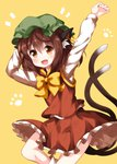 1girl :d animal_ear_fluff animal_ears arms_up bangs bow bowtie brown_eyes brown_hair cat_ears cat_tail chen commentary_request cowboy_shot earrings eyebrows_visible_through_hair fang green_hat hair_between_eyes hand_behind_head hat highres jewelry long_sleeves looking_at_viewer miniskirt mob_cap multiple_tails nekomata open_mouth paw_print petticoat red_skirt red_vest ruu_(tksymkw) shirt simple_background skirt skirt_set smile socks solo tail thighs touhou two_tails vest white_legwear white_shirt yellow_background yellow_bow yellow_neckwear