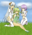 3girls :d alternate_hairstyle antenna_hair ar_tonelico ar_tonelico_i ar_tonelico_ii ar_tonelico_iii bangs bare_shoulders blue_eyes bodysuit boots braid center_opening cloud colored cross-laced_clothes day detached_sleeves flat_chest frelia from_side gloves gradient grass green_hair green_leotard groin hair_between_eyes hair_down hair_ornament hairdressing half-closed_eyes halterneck hands_on_thighs haruka_(charishearts) headgear highleg highleg_leotard kneeling leotard light_smile long_hair multiple_girls navel on_ground open_mouth orange_eyes outdoors purple_eyes purple_hair see-through short_hair shurelia side_braid silver_hair sitting sky smile thigh_boots thighhighs tilia turtleneck twin_braids utsugi_(skydream) very_long_hair white_footwear white_gloves white_legwear