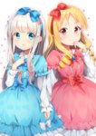 2girls absurdres alternate_costume blonde_hair blue_bow blue_dress blue_eyes blush bow dress drill_hair eromanga_sensei hair_bow hairband hand_up highres holding_hands izumi_sagiri lolita_fashion long_hair matching_outfit multiple_girls pink_dress pointy_ears red_bow red_eyes silver_hair standing torokeru_none yamada_elf
