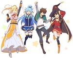 1boy 3girls aqua_(konosuba) bandages bare_shoulders black_hair black_legwear blonde_hair blue_hair blush breasts brown_hair closed_eyes darkness_(konosuba) detached_sleeves fingerless_gloves gloves hair_ornament hair_rings hairclip hat holding_hands jumping kono_subarashii_sekai_ni_shukufuku_wo! long_hair megumin mishima_kurone multiple_girls official_art open_mouth ponytail satou_kazuma short_hair single_thighhigh skirt smile thighhighs very_long_hair witch_hat