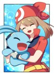 1girl absurdres breast_press breasts brown_hair closed_eyes eyebrows_visible_through_hair gen_4_pokemon hair_between_eyes haruka_(pokemon) hat highres long_hair manaphy medium_breasts open_mouth pokemon pokemon_(game) pokemon_rse red_hat red_shirt shirt short_sleeves smile solo twintails upper_body yuihiko