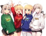 4girls :d :o ^_^ ahoge alternate_costume arm_up arts_shirt black_ribbon black_skirt blonde_hair blue_ribbon blush braid buster_shirt closed_eyes closed_mouth commentary cowboy_shot expressionless extra_attack_shirt fate/extra fate/grand_order fate/stay_night fate_(series) french_braid grey_eyes grey_hair hair_intakes hair_ribbon half_updo hand_up hands_in_pocket hands_in_pockets hood hoodie index_finger_raised koha-ace lineup looking_at_another looking_at_viewer multiple_girls open_mouth pleated_skirt pointing pointing_up ponytail quick_shirt ribbon saber saber_alter saber_extra sakura_saber sakura_yuki_(clochette) short_hair short_hair_with_long_locks shorts sidelocks simple_background skirt smile white_background yellow_eyes