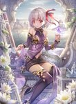 1girl armlet bangs bare_shoulders bracelet bug building butterfly cloud cup detached_sleeves earrings fate/grand_order fate_(series) flower hair_ribbon high_heels highres horizon insect jewelry kama_(fate/grand_order) looking_at_viewer navel red_eyes ribbon shirt_lift short_hair silver_hair sitting skirt sky solo teapot thighhighs torino_akua water