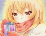 1girl aisaka_taiga blonde_hair closed_mouth coupy_pencil_(medium) gift gloves gofu holding holding_gift md5_mismatch portrait scarf smile solo toradora! traditional_media valentine yellow_eyes
