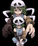 2others androgynous bone bow detached_sleeves dual_persona ex-sese green_eyes green_hair hair_ornament highres japanese_clothes kajima_(0mx3265j0g93z2c) kitsugai_sese len'en multiple_others open_mouth outstretched_arms short_hair skull_hair_ornament