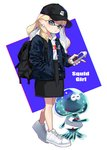 1girl backpack bag bangs baseball_cap black_headwear black_jacket black_skirt blunt_bangs cellphone commentary cross-laced_footwear domino_mask earrings english_text full_body green_eyes hand_in_pocket hat head_tilt high-waist_skirt holding holding_cellphone holding_phone hood hoodie inkling jacket jellyfish_(splatoon) jewelry light_brown_hair logo long_hair long_sleeves looking_at_viewer mask medium_skirt mimimi_(echonolog) open_clothes open_jacket phone pointy_ears print_hat shirt shoes skirt smartphone sneakers solo splatoon_(series) splatoon_2 standing symbol_commentary tentacle_hair walking white_footwear white_shirt