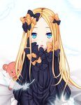1girl abigail_williams_(fate/grand_order) ai(4522167) bangs bed_sheet black_bow black_dress blonde_hair blue_background blue_eyes blurry blurry_foreground blush bow commentary_request depth_of_field dress eyebrows_visible_through_hair fate/grand_order fate_(series) feathers forehead hair_bow long_hair long_sleeves looking_at_viewer no_hat no_headwear orange_bow parted_bangs parted_lips polka_dot polka_dot_bow sitting sleeves_past_fingers sleeves_past_wrists solo stuffed_animal stuffed_toy teddy_bear transparent very_long_hair