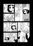 2girls >_< blush comic computer ear_piercing flying_sweatdrops greyscale highres laptop lip_piercing long_hair mochi_au_lait monochrome multiple_girls nakai_(waitress) no_nose original piercing siblings sisters sweat tearing_up translated