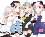 4girls abigail_williams_(fate/grand_order) ahoge bangs black_bow black_dress black_hat black_legwear black_neckwear black_ribbon blonde_hair blue_dress blush bow braid dress eyebrows_visible_through_hair facial_scar fate/grand_order fate_(series) gloves green_eyes hair_between_eyes hair_bow hair_ornament hat headpiece highres jack_the_ripper_(fate/apocrypha) jeanne_d'arc_(fate)_(all) jeanne_d'arc_alter_santa_lily long_hair looking_at_viewer lying multiple_girls neck_ribbon neckerchief nursery_rhyme_(fate/extra) on_back on_side open_mouth pantyhose pink_bow purple_eyes ribbon sailor_collar scar scar_across_eye scar_on_cheek shimotsuki_kagari shiny shiny_skin short_dress short_hair simple_background sleeveless sleeveless_dress smile thighhighs tied_hair twin_braids white_background white_dress white_gloves white_legwear yellow_eyes yellow_neckwear zettai_ryouiki