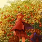 1girl apple apple_tree basket black_shirt bow cape commentary_request cropped_legs day disembodied_head expressionless floating_head food from_below fruit hair_bow holding holding_basket long_sleeves looking_at_viewer object_on_head outdoors pleated_skirt red_cape red_eyes red_hair red_skirt reika_winter sekibanki shirt short_hair skirt solo standing touhou tree wind wind_lift