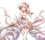 1girl breasts brown_eyes brown_hair choker cleavage collarbone detached_sleeves djeeta_(granblue_fantasy) dress eyebrows_visible_through_hair flower granblue_fantasy hair_flower hair_ornament highres holding holding_sword holding_weapon long_hair looking_at_viewer medium_breasts open_mouth sakaokasan simple_background sleeveless sleeveless_dress solo standing striped striped_dress sword the_glory thighhighs weapon white_background white_dress white_flower white_legwear