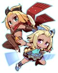 2girls 7th_dragon_(series) 7th_dragon_iii :o argyle argyle_legwear bangs_pinned_back belt belt_buckle black_bandeau black_bow blonde_hair blue_belt blue_bow blue_footwear blue_shirt blush boots bow brown_footwear brown_gloves brown_legwear buckle car character_request chibi closed_mouth collarbone commentary_request dark_skin duelist_(7th_dragon) elbow_gloves fingerless_gloves forehead fringe_trim gloves green_eyes green_skirt ground_vehicle hair_bow hand_up hatch_(7th_dragon) jacket kneehighs leather leather_gloves long_hair looking_at_viewer motor_vehicle multiple_girls naga_u navel open_clothes open_jacket orange_shorts outstretched_arm parted_lips purple_eyes red_scarf scarf shirt short_shorts short_sleeves shorts sidelocks simple_background skirt thigh_boots thighhighs transparent v-shaped_eyebrows white_background yellow_jacket