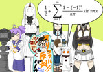 5girls admiral_(kantai_collection) aoba_(kantai_collection) camera equation graffiti horn kantai_collection kogame math multiple_girls nagato_(kantai_collection) northern_ocean_hime ooyodo_(kantai_collection) seaport_hime shinkaisei-kan shitty_admiral translated