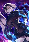 1girl ahoge breasts chain collar commentary_request embers fate/grand_order fate_(series) fire flag gauntlets hand_on_hip headpiece holding holding_flag jeanne_d'arc_(alter)_(fate) jeanne_d'arc_(fate)_(all) large_breasts looking_at_viewer short_hair smirk solo standing thighhighs tight_top tomoyohi upper_body white_hair yellow_eyes zettai_ryouiki