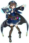 1girl :o bangs belt belt_pouch black_cape black_choker black_footwear black_legwear blue_eyes blue_skirt book bottle breasts brown_eyes brown_hair cape chain choker cleavage full_body gemini_seed hair_ornament hat holding holding_book long_sleeves looking_at_viewer medium_breasts o-ring official_art open_book outstretched_hand potion pouch short_hair skirt solo standing thighhighs transparent_background vial