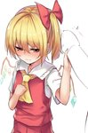 1girl ascot bangs blonde_hair blush borushichi bow breasts clenched_hand commentary_request cowboy_shot crystal eyebrows_visible_through_hair fang_out flandre_scarlet grabbing hair_between_eyes hair_bow half-closed_eyes hand_on_own_chest hand_up highres looking_at_viewer no_hat no_headwear nose_blush one_side_up penis penis_grab pointy_ears red_bow red_eyes red_skirt red_vest shirt short_hair short_sleeves simple_background skirt skirt_set small_breasts solo sweat touhou vest white_background white_shirt wings yellow_neckwear