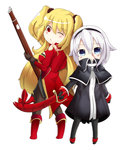 2girls anne_bonny_(fate/grand_order) blonde_hair blue_eyes chibi cutlass_(sword) fate/grand_order fate_(series) gun hairband mary_read_(fate/grand_order) multiple_girls red_eyes ribbon rifle sword twintails weapon white_hair