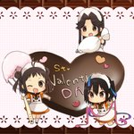 3girls alternate_costume apron blush brown_eyes brown_hair chibi chocolate chocolate_heart commentary_request dress enmaided eyebrows_visible_through_hair food frills gloves hair_between_eyes heart jintsuu_(kantai_collection) kantai_collection koruri looking_at_viewer maid maid_apron maid_headdress multiple_girls naka_(kantai_collection) pastry_bag puffy_short_sleeves puffy_sleeves ribbon sendai_(kantai_collection) shoes short_sleeves simple_background smile standing whisk white_legwear