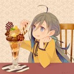 1girl ahoge alternate_costume blue_hair chair chestnut colis commentary_request dessert dress food glass grey_eyes grey_hair hair_between_eyes holding holding_spoon ice_cream kantai_collection kiyoshimo_(kantai_collection) long_hair low_twintails mont_blanc_(food) multicolored_hair parfait solo spoon tongue tongue_out twintails twitter_username upper_body very_long_hair wafer_stick yellow_dress