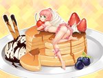 1girl :q absurdres alternate_hairstyle ass bang_dream! bangs barefoot bikini bikini_skirt blueberry breasts cherry cookie cream detached_sleeves food frilled_bikini frills fruit green_eyes hair_bun hair_ornament hair_scrunchie highres hpb8642 in_food leg_ribbon looking_at_viewer looking_back medium_breasts minigirl object_hug outline pancake pink_bikini pink_hair pink_ribbon plaid plaid_background plate ribbon scrunchie shiny shiny_skin soles solo stack_of_pancakes strawberry swimsuit syrup tongue tongue_out uehara_himari white_outline white_scrunchie