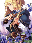 1girl belt blonde_hair blue_eyes cloak colored_eyelashes comet_(teamon) cutting_hair flower hair_grab holding long_hair open_mouth original ribbon skirt solo sword tears violet_(flower) weapon