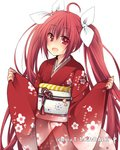 1girl :d ahoge bangs blush cowboy_shot date_a_live eyebrows_visible_through_hair floating_hair floral_print hair_between_eyes hair_ribbon hibiki_mio itsuka_kotori japanese_clothes kimono long_hair looking_at_viewer obi open_mouth red_eyes red_hair red_kimono ribbon sash simple_background smile solo standing twintails very_long_hair white_background white_ribbon yukata