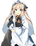 1girl :d alternate_costume ameshizuku_natsuki apron apron_hold bangs black_dress blue_eyes blush dress enmaided eyebrows_visible_through_hair fate/grand_order fate_(series) frilled_apron frills juliet_sleeves light_brown_hair long_hair long_sleeves looking_at_viewer maid maid_apron maid_headdress marie_antoinette_(fate/grand_order) open_mouth puffy_sleeves sidelocks simple_background sketch smile solo twintails very_long_hair white_apron white_background