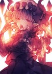 1girl ascot backlighting bangs blood blood_on_face bloody_clothes bloody_hands blurry bow commentary depth_of_field fangs flandre_scarlet frilled_shirt_collar frills half-closed_eyes hand_up hat hat_bow highres looking_at_viewer mob_cap muted_color one_side_up open_mouth pointy_ears puffy_short_sleeves puffy_sleeves saliva saliva_trail short_sleeves simple_background skirt skirt_set solo symbol_commentary tongue tongue_out touhou upper_body white_background wings wiriam07