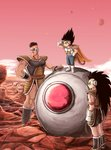 3boys armor black_boots black_hair boots cape dragon_ball dragon_ball_z facial_hair gloves hand_on_hip koh_(oab71kq3) long_hair male_focus monkey_tail multiple_boys muscle mustache nappa planet raditz scouter space_craft vegeta very_long_hair white_gloves wristband younger