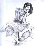 1girl avatar:_the_last_airbender avatar_(series) barefoot blanket capri_pants chinese_clothes closed_eyes dirty_feet feet hair_bun head_tilt highres monochrome pants pen_(medium) robe sketch smile soles toes toph_bei_fong traditional_media