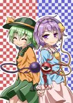 2girls ^_^ back-to-back black_headwear blue_shirt blush checkered checkered_background closed_eyes commentary_request cowboy_shot eyebrows_visible_through_hair facing_viewer frilled_sleeves frills green_hair green_skirt hair_between_eyes hairband hat hat_ribbon head_tilt heart highres holding_hands interlocked_fingers komeiji_koishi komeiji_satori long_sleeves looking_at_viewer multiple_girls outline pink_eyes pink_skirt purple_hair ribbon shirt short_hair siblings sisters skirt sleeve_cuffs smile standing sugiyama_ichirou third_eye touhou two-tone_background untucked_shirt white_outline yellow_shirt