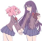 2girls blue_skirt blush book commentary doki_doki_literature_club eyebrows_visible_through_hair hair_ornament hair_ribbon hairclip holding holding_book holding_hand ica_tm long_hair long_sleeves looking_at_another multiple_girls natsuki_(doki_doki_literature_club) open pink_eyes pink_hair pleated_skirt purple_eyes purple_hair red_ribbon ribbon school_uniform short_hair simple_background skirt two_side_up white_background yuri yuri_(doki_doki_literature_club)