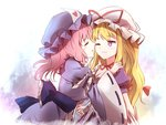 2girls blonde_hair closed_eyes hand_on_another's_shoulder hat hat_ribbon heart heart_print holding_hands hug japanese_clothes kimono long_hair looking_at_another minust mob_cap multiple_girls obi one_eye_closed pink_hair puffy_short_sleeves puffy_sleeves purple_eyes ribbon ribbon-trimmed_sleeves ribbon_trim saigyouji_yuyuko sash short_hair short_sleeves sketch smile touhou triangular_headpiece wide_sleeves yakumo_yukari yuri