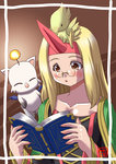 1girl blonde_hair book chocobo final_fantasy final_fantasy_tactics horn long_hair moogle oborogumo_takamitsu robe summoner_(fft)