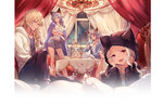 2boys 2girls animal_ears animal_hood blonde_hair blue_eyes casual cat_hood cup food granblue_fantasy heles hood jewelry minaba_hideo multiple_boys multiple_girls naoise necklace official_art red_eyes seruel shorts silver_hair skasaha_(granblue_fantasy) teacup